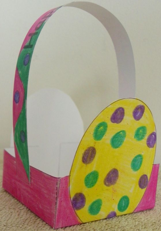 Easter basket craft for kids with free template and - Easter basket craft ideas ...