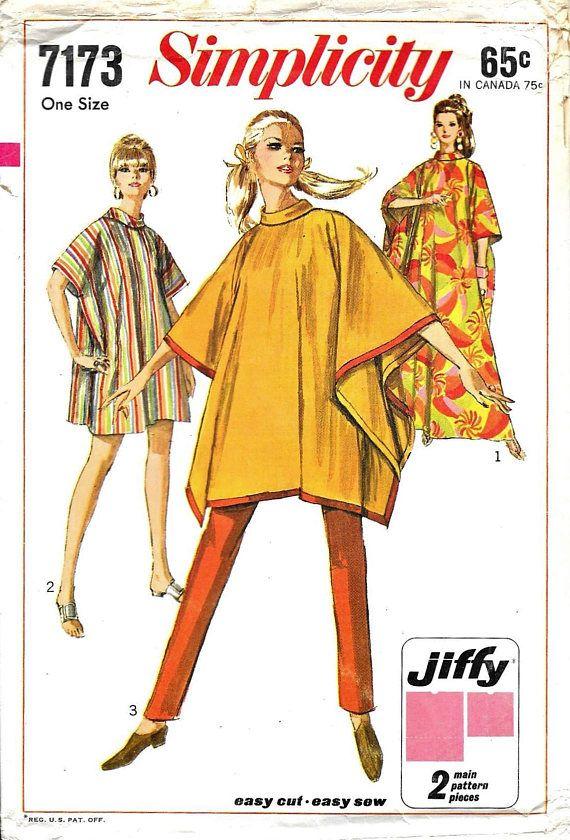 S6630 Sewing Pattern Retro 1970s Style VTG Jiffy Ponchos Reversible  EASY Make