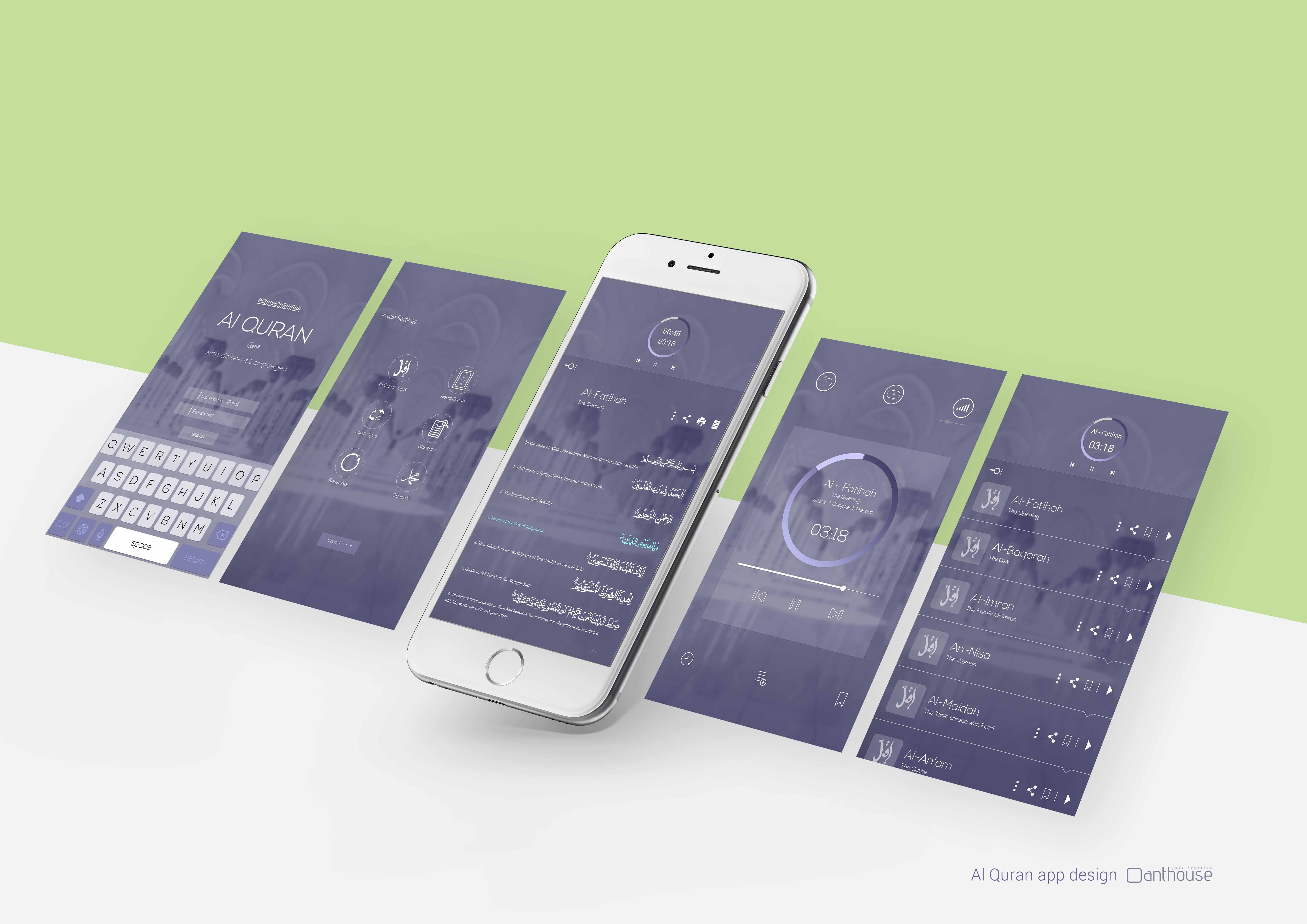Al-QURAN Apps Design   Website & UI design   Quran app, App