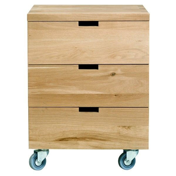 Caisson Billy Chne Massif Bureau 3 tiroirs