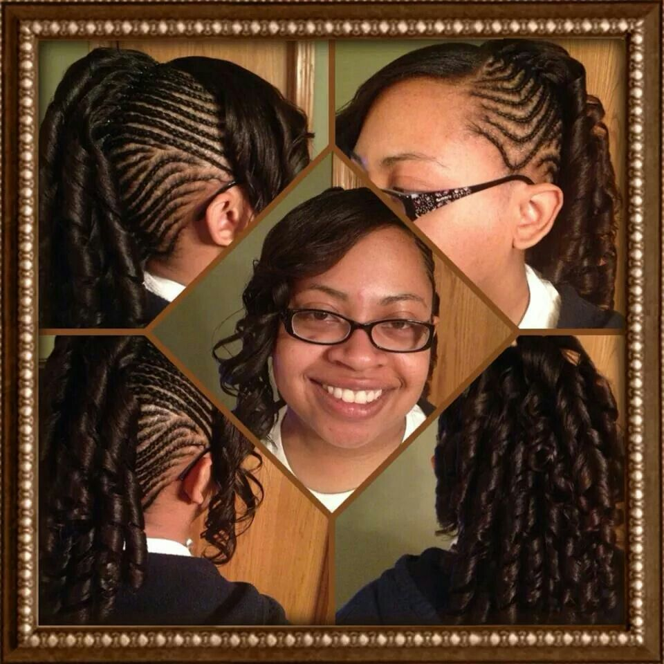 Cornrows mohawk with spiral curls african american hairstyle