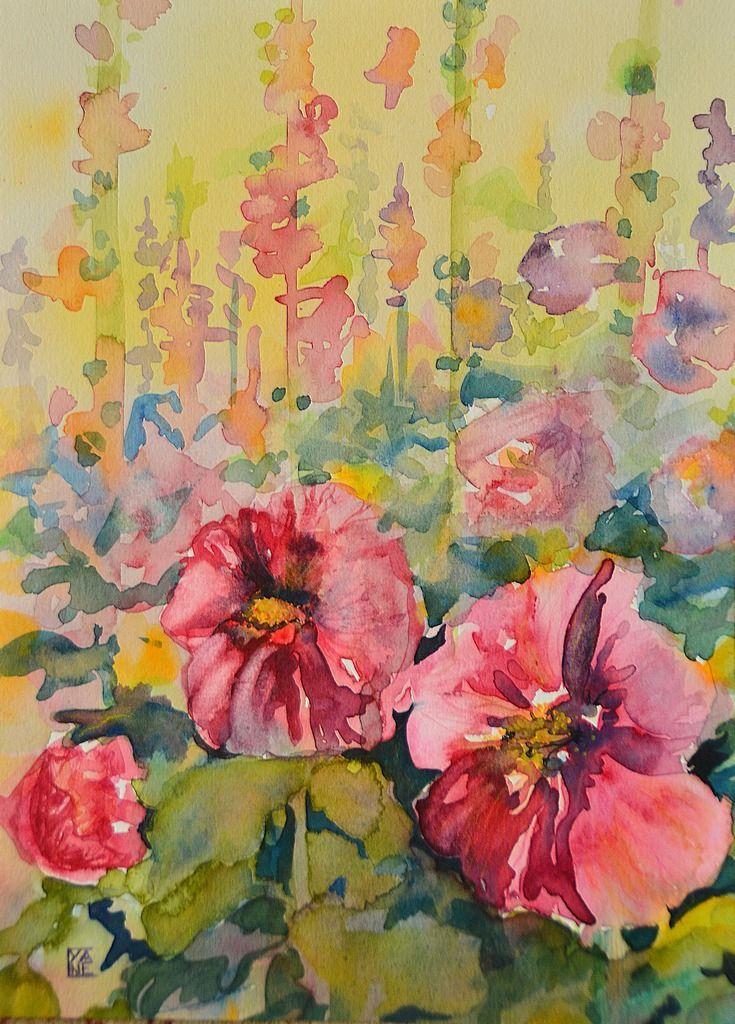 Les roses tr mi res aquarelle fleurs dans le jardin roses for Peinture rose pastel