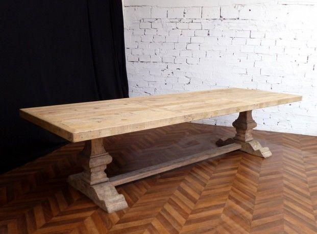 Magnifique table de ferme monastère de salle à manger en bois brut