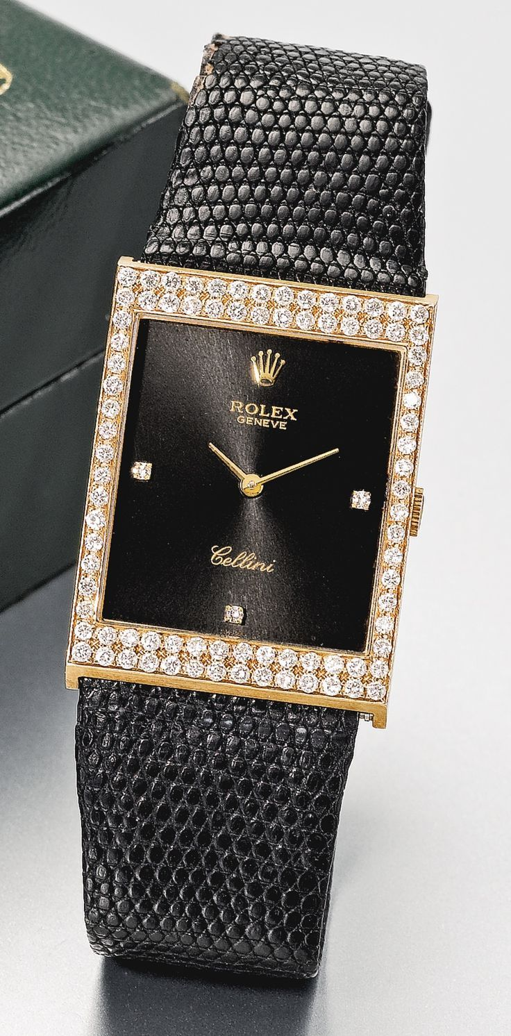 Rolex An 18k Pink Gold Rectangular Diamond Set Wristwatch Circa 1990 Via With Images Sparkly Watches Rolex Watches Women Beautiful Watches