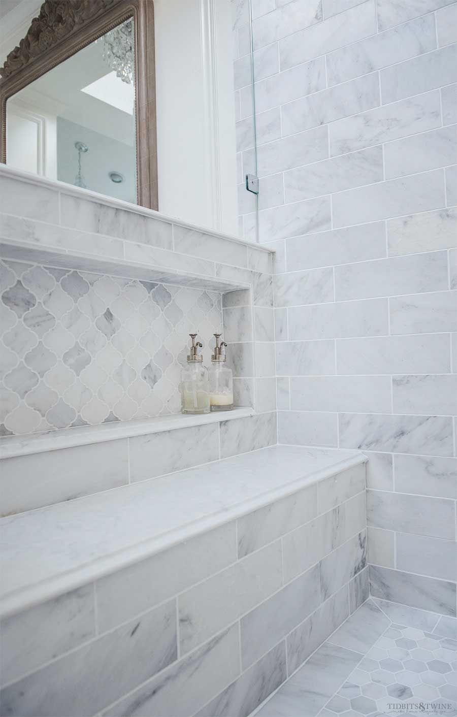 Oversized Shower Niche With Arabesque Carrara Marble In French Elegant Master Bathroom In 2020 Zen Bathroom Decor Master Bathroom Decor Shower Niche