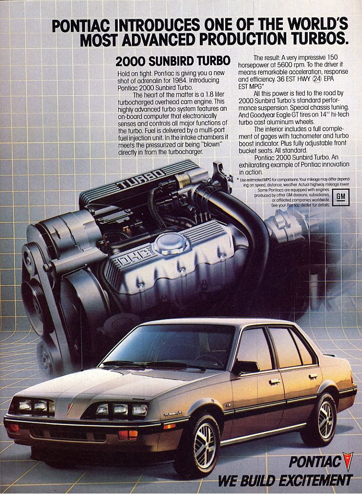 1985 Pontiac 2000 ad. Cars Pontiac cars, Pontiac