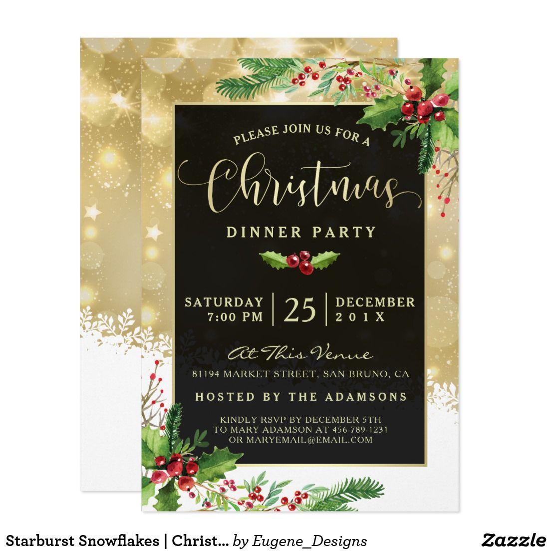 Starburst Snowflakes Christmas Party Invitation Zazzle Com Snowflake Christmas Party Invitation Party Invitations Christmas Invitations