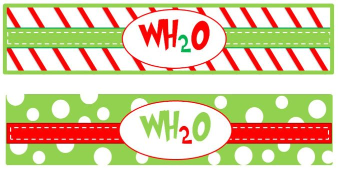 Grinch Water Bottle Labels Christmas Whoville Pinterest