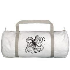 Black and White Vintage Octopus Gym Bag
