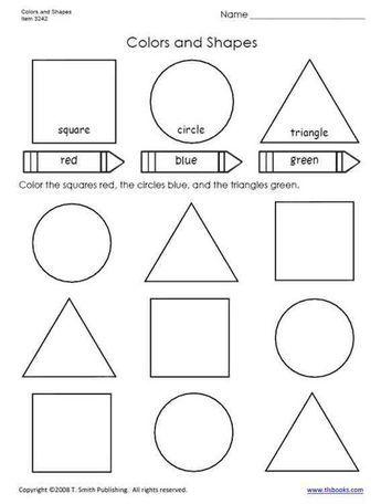 Colors And Shapes Worksheet From Tlsbooks Com Shapes Worksheets Shapes Worksheet Kindergarten Shapes Preschool