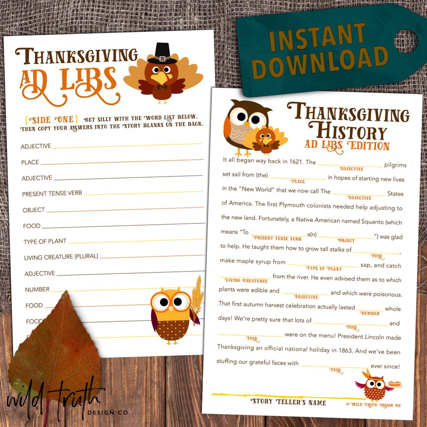 Funny Thanksgiving Mad Libs Game For Kids Teens Amp Adults