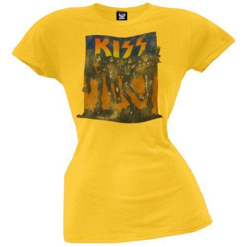 Old Glory-Kiss-Full Color Juniors Camiseta Amarillo amarillo X-Small #camiseta #starwars #marvel #gift