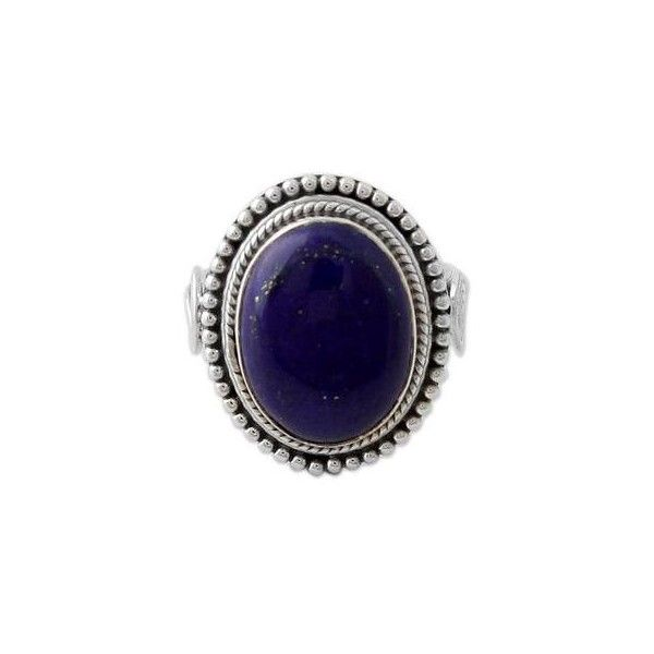 NOVICA Sterling Silver Cocktail Ring with Lapis Lazuli from India ($48) ❤ liked on Polyvore featuring jewelry, rings, blue, single stone, handcrafted jewelry, sterling silver cocktail rings, lapis lazuli jewelry, handcrafted sterling silver jewelry and sterling silver jewelry