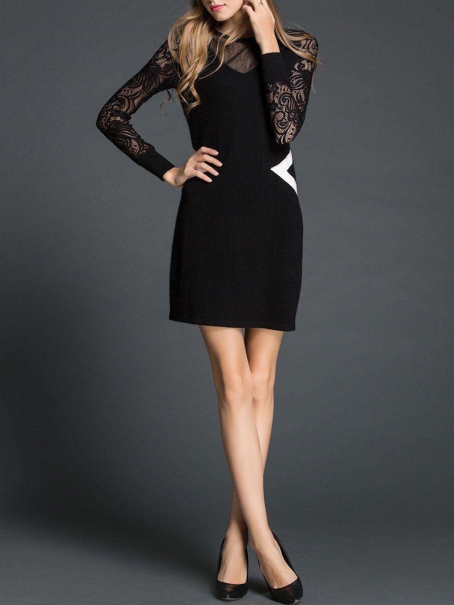 Adorewe stylewe natural house black long sleeve cashmere paneled