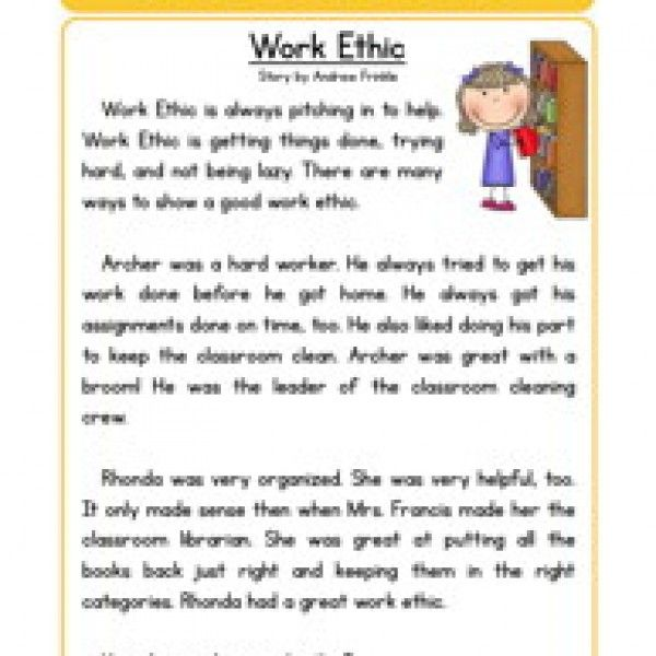 Character Stories Comprehension Work Ethic