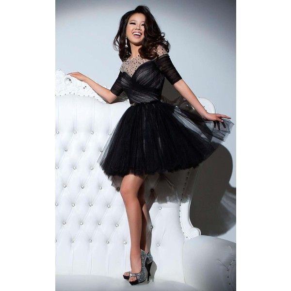 Tony Bowls TS21641 Party Dress Mini High Neckline Mid-Length ($569) ❤ liked on Polyvore featuring dresses, black, cocktail dresses, little black dress, sheer mini dress, ruched cocktail dress, sparkly homecoming dresses and homecoming dresses