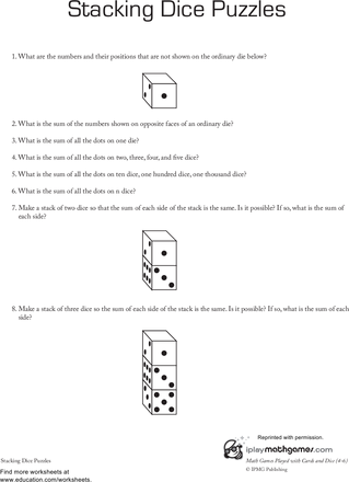 Stacking Dice Puzzles Worksheet Education Com Maths Activities Middle School School Worksheets Worksheets