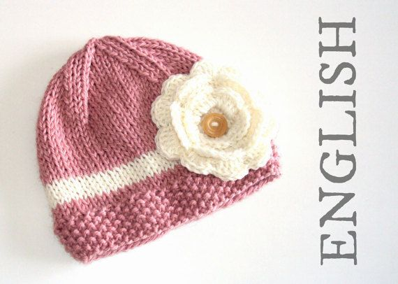 Knitted Hat Pattern With Crochetted Flower This Is A Perfect