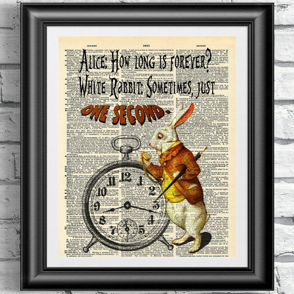ART PRINT ON ANTIQUE BOOK PAGE White Rabbit Alice in Wonderland Dictionary
