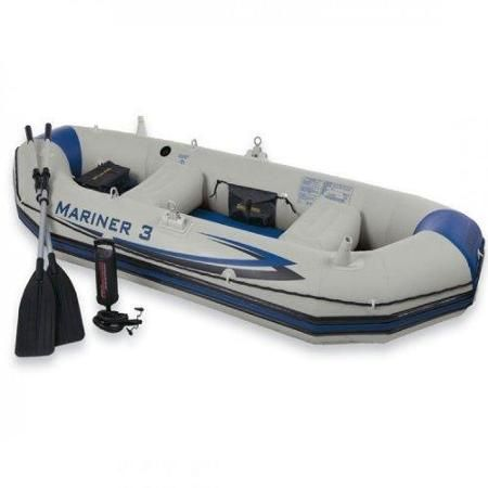 INTEX Mariner 3 Inflatable Raft River/Lake Dinghy Boat & Oars Set | 68373EP  $191.00