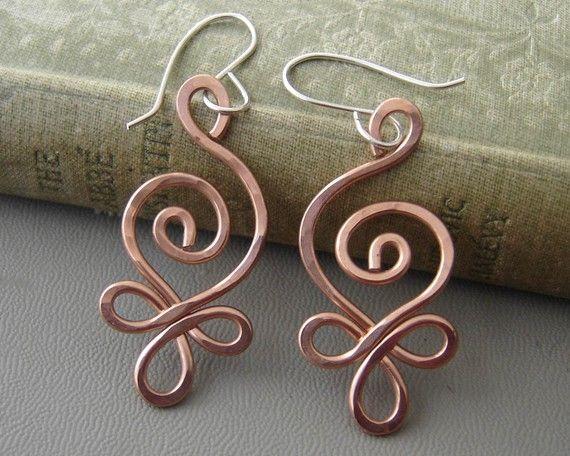 Celtic Budding Spiral Copper Earrings Dangle by nicholasandfelice