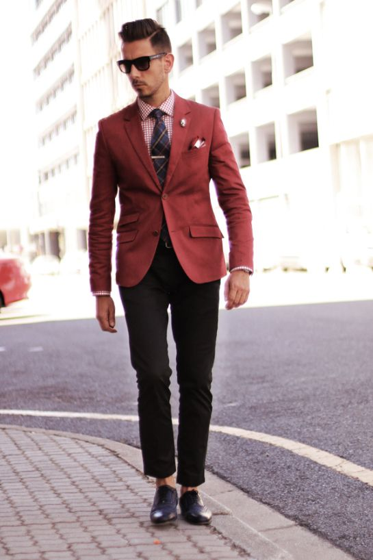 Another cool outfit idea using a red blazer...dark shirt blue ...