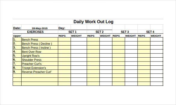 Workout Log Templates 10 Free Printable Excel Word Pdf