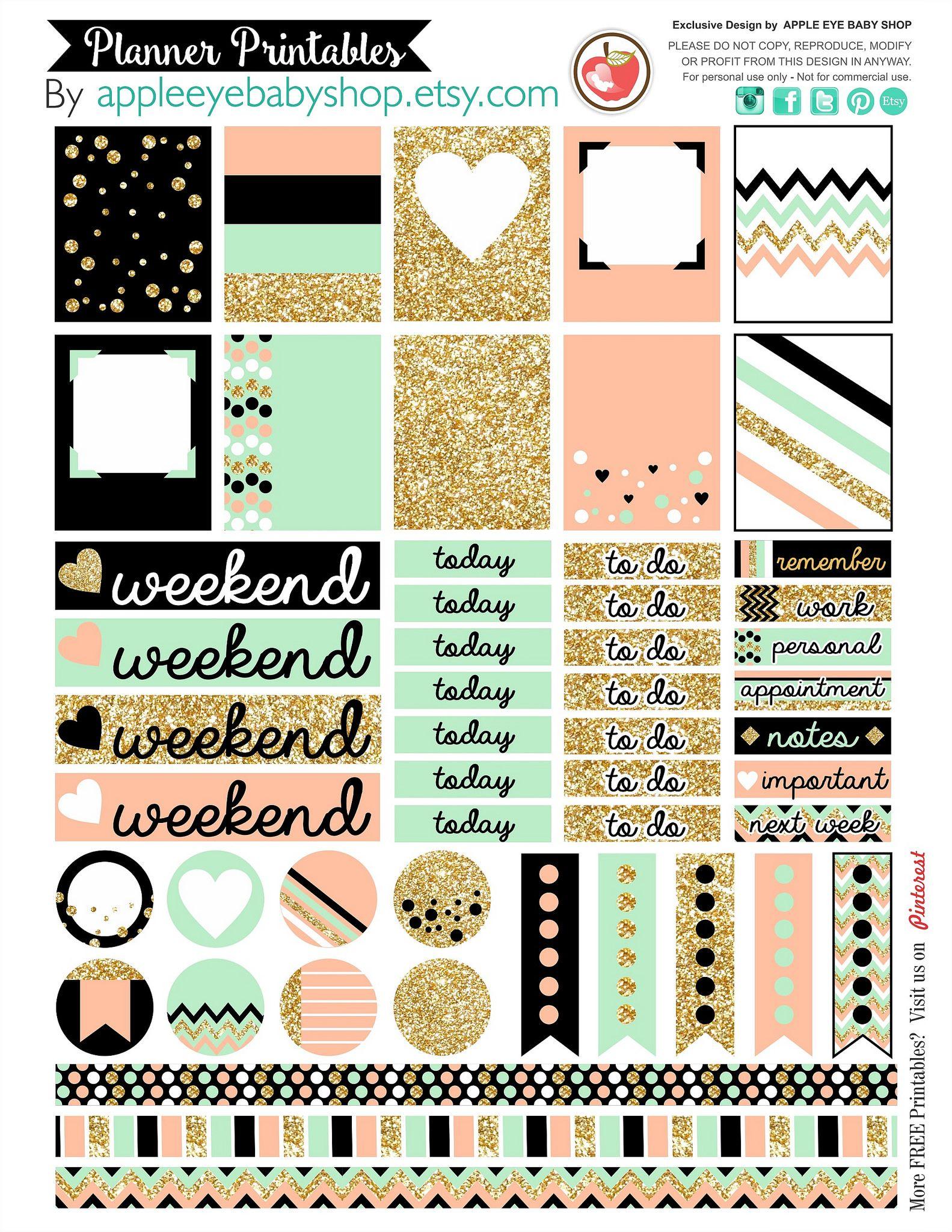 Todos os tamanhos | Planner Printables Mint Peach Gold | Flickr – Compartilhamento de fotos!