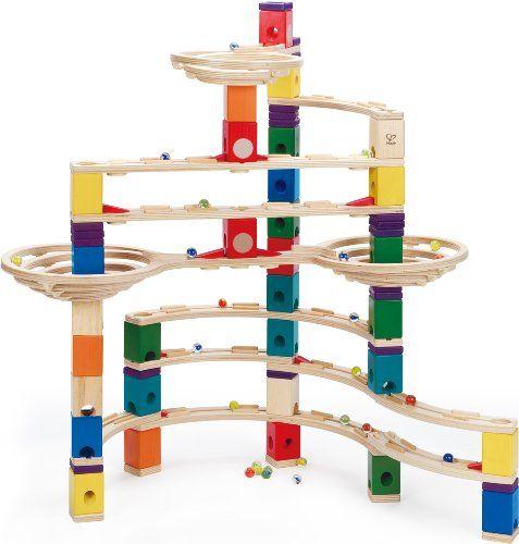 Hape Quadrilla Cyclone Wooden Marble Run Race Maze Toy Construction Building Set