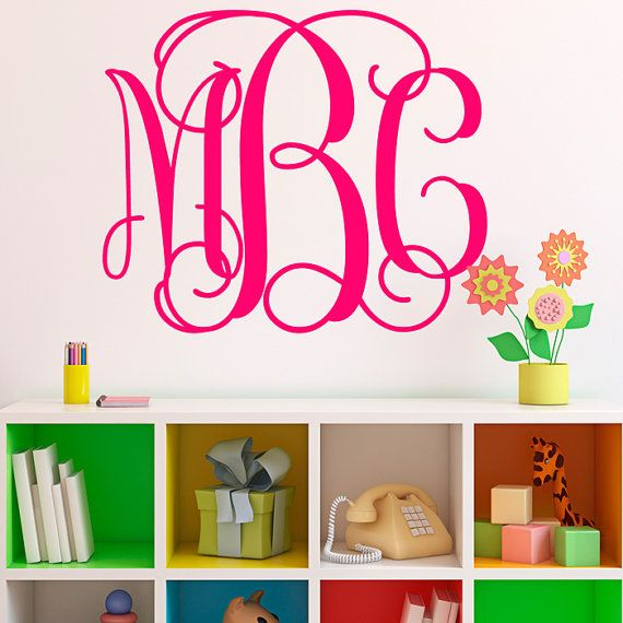 Monogram Initials Wall Decal Fancy Wall By Michellechristina - Monogram wall decal for kids
