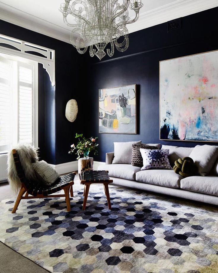 tapis bleu moderne pour le salon