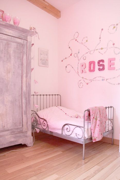 vintage, pink but not toot pink I really need this bed for my
