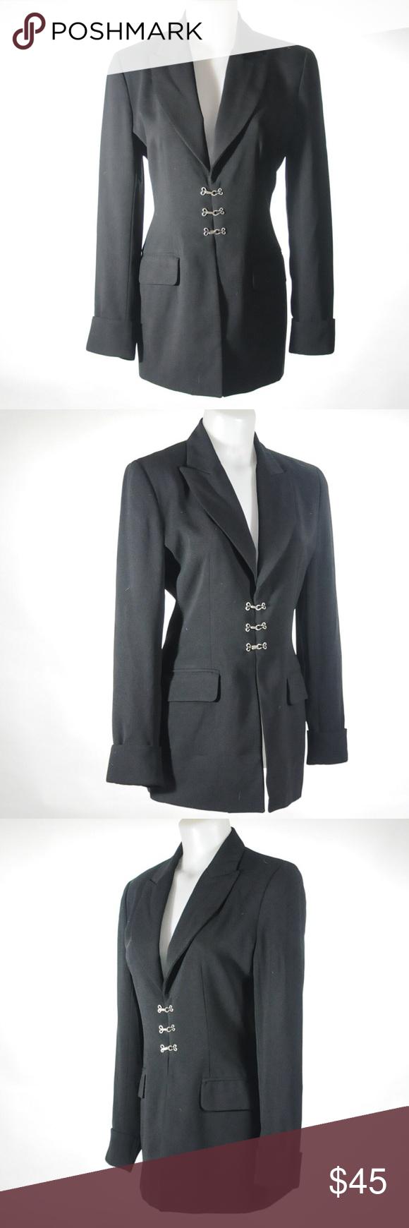Kenar Studio Black Suit Jacket 3 Hook Front Sz6 Black Suit Jacket Black Dress Jacket Black Suits [ 1740 x 580 Pixel ]