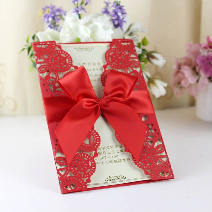 Red Laser Cut Wedding Invitations With Ribbon Bow Laser Cut