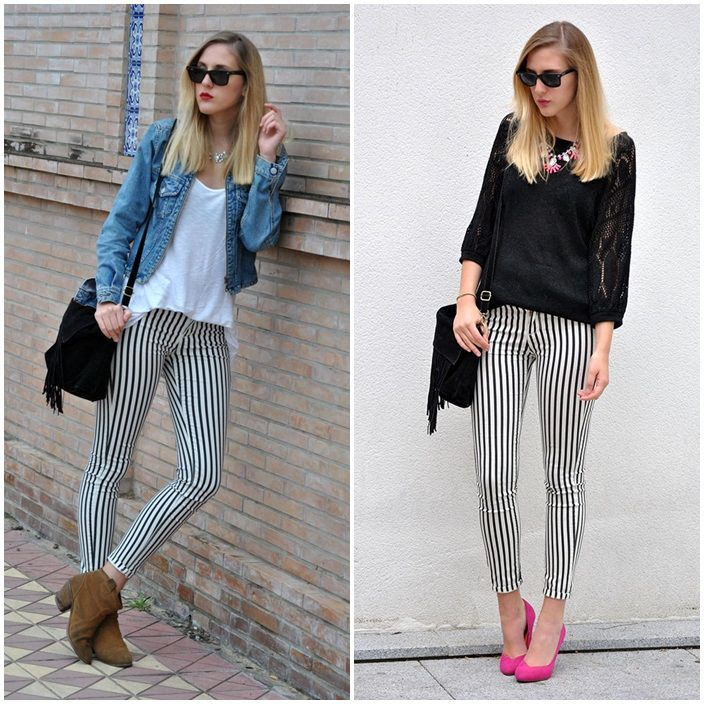 what to wear with striped pants