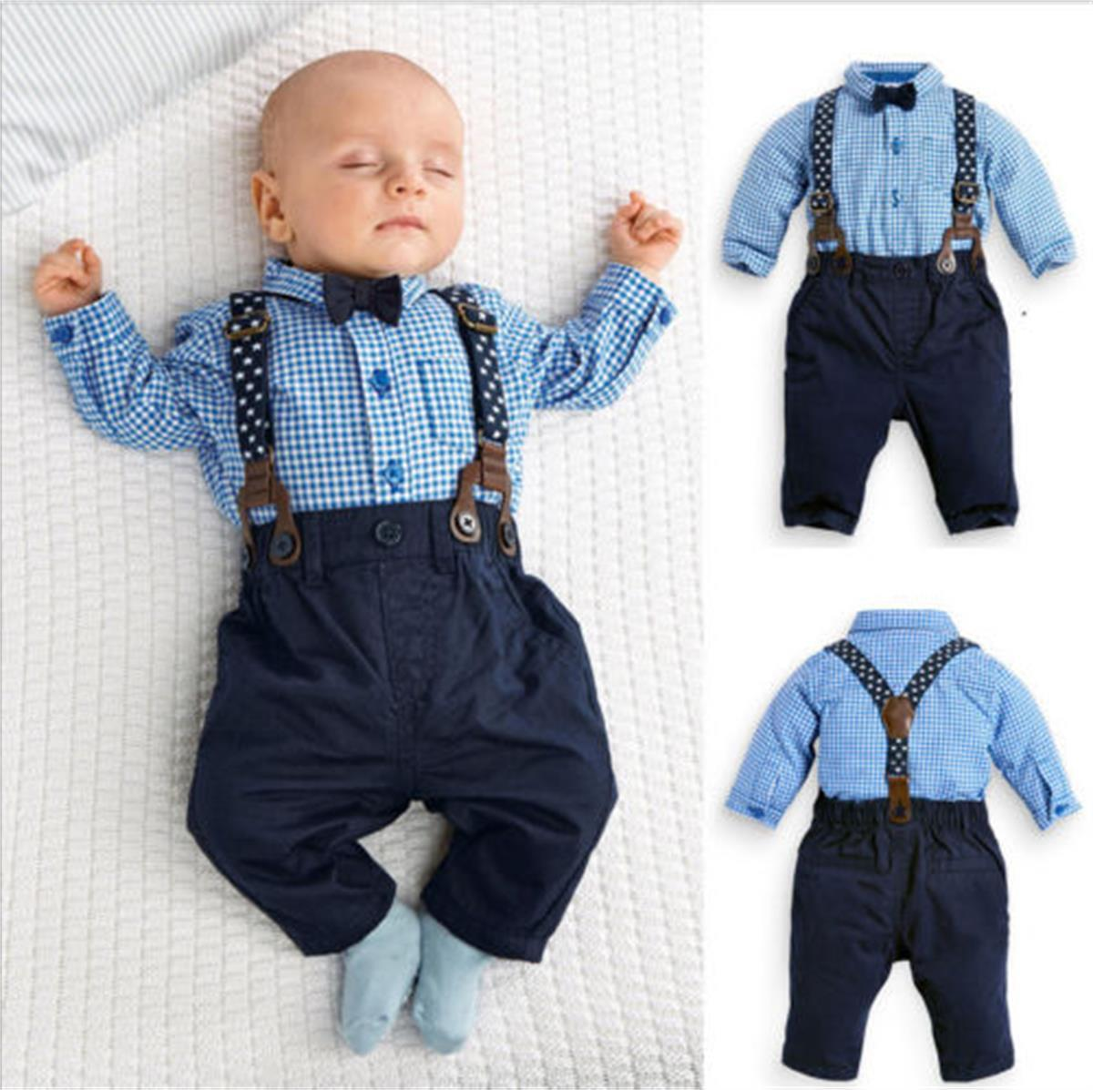 Toddler Kids Baby Boys T-Shirt Tops Braces Trousers Overall Outfits Clothes Set