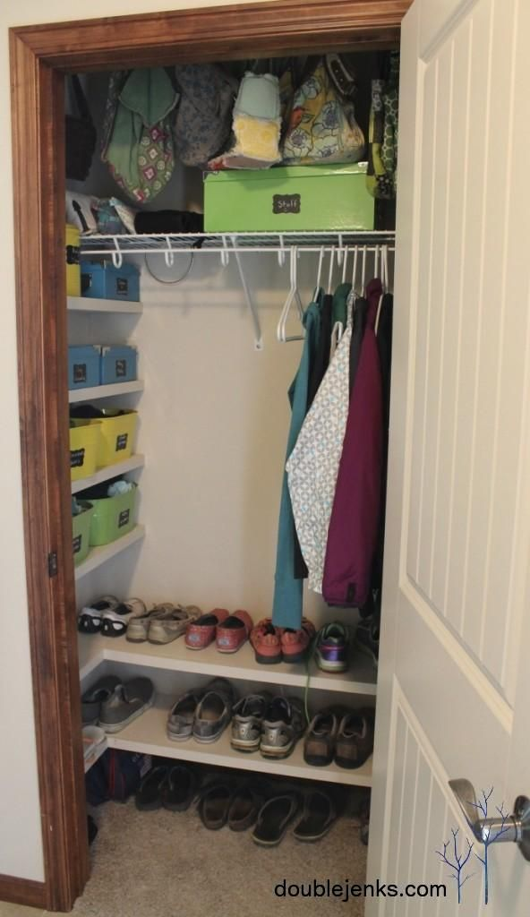 Coat Closet Organization I Love The Shelves On Side And Bottom Definitely Need To Do This Use Hooks Instead Of Hangers