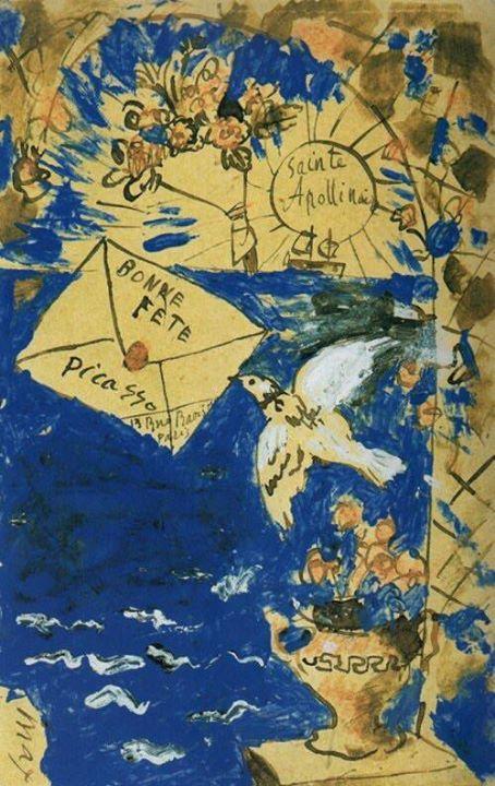 1905 Pablo Picasso, in vacanza al mare, dipinge e invia all'amico poeta Guillaume Apollinaire una cartolina