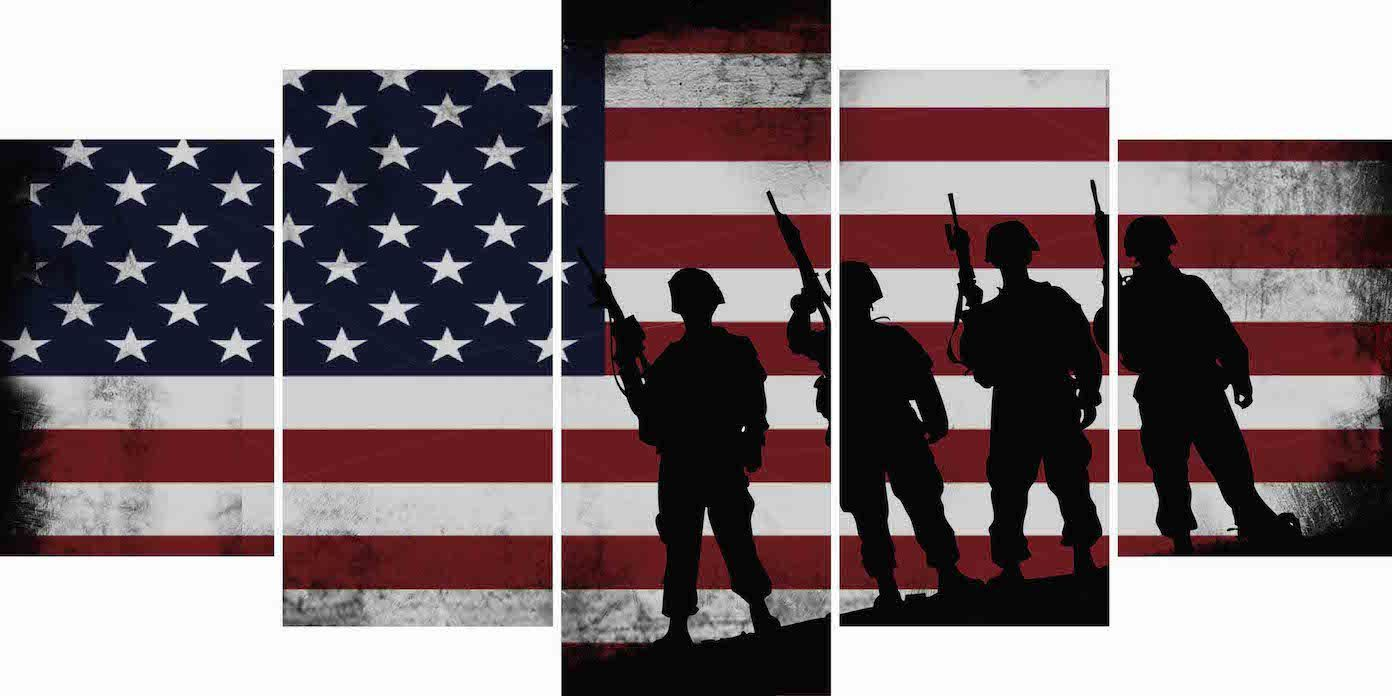 c7a531d2a265 American Flag and 4 US Army Marines Wall Art Canvas Painting Decor