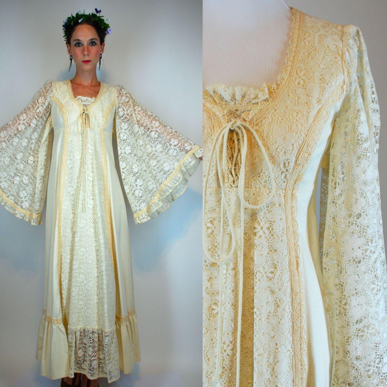 Bohemian lace cotton empire waist tiered hippie by bluegrassvoodoo