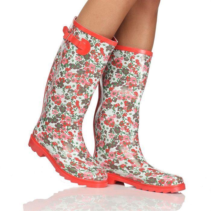 Bottes De Pluie A Fleurs Boots Rain Boots Dressy Shoes