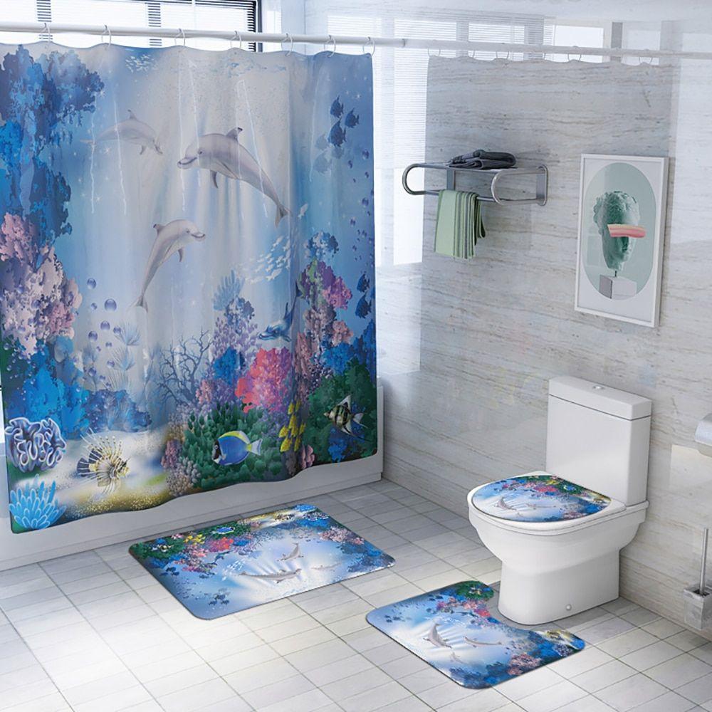 Buy 4pcs Set Anti Slip Bathroom Rugs Set Waterproof Shower Curtain Pedestal Rug Lid Toilet Cover Bathro In 2020 Bathroom Mat Sets Bathroom Rug Sets Shower Curtain Sets