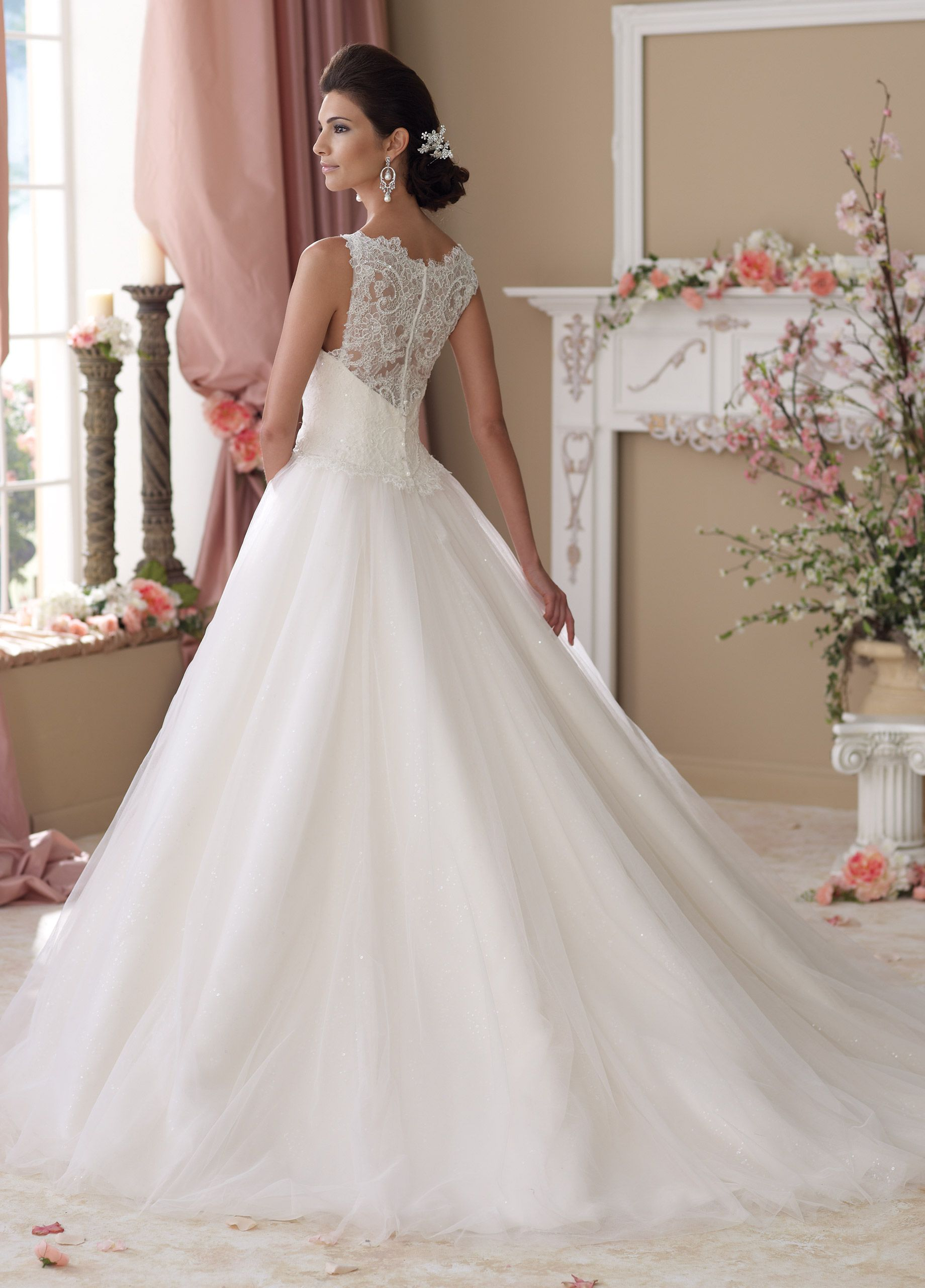 Illusion lace neckline aline ball gown wedding dress isobel