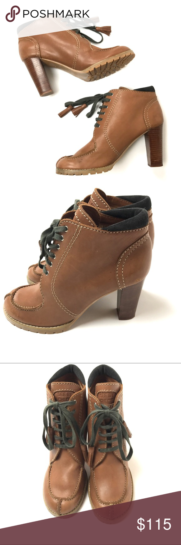 "See by Chloe Brown Lace Up Ankle Boots Size 10 See by Chloe Brown Lace Up Ankle Boots Size 41/11  Heel is 4""  Condition: Excellent pre-owned condition. Chloe Shoes Heeled Boots"