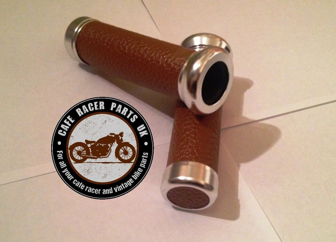Cafe Racer Motorcycle Brown Leather Look 7 8 Handlebar Grips With Chrome Ends