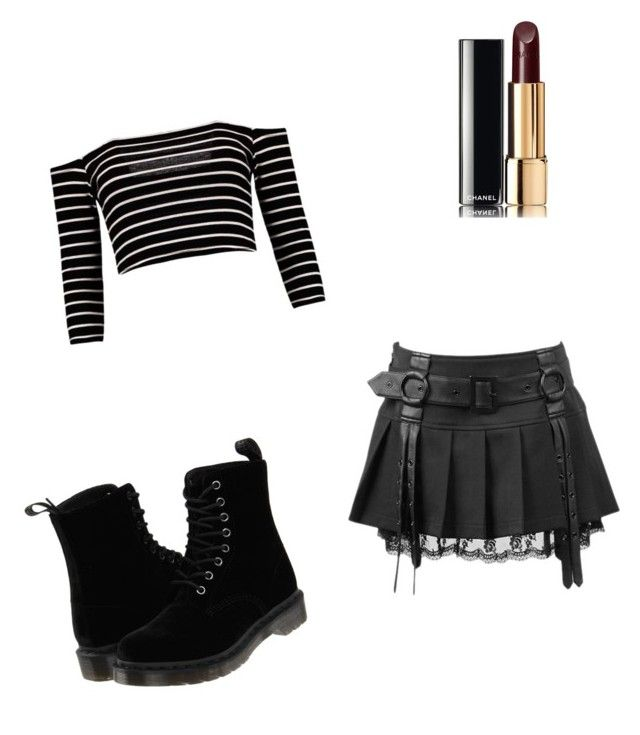 """goth outfit"" by monsterhigh837 ❤ liked on Polyvore featuring Dr. Martens and Chanel"