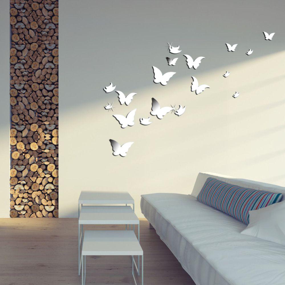 Barato 20 PCS 3D moderno adesivos de parede de prata em forma de borboleta…