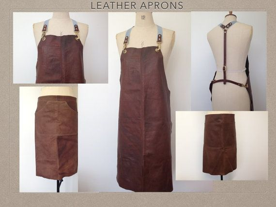 Leather Apron Brown Vintage Leather Unisex Full By Bteshome Leather Apron Clothes Fashion