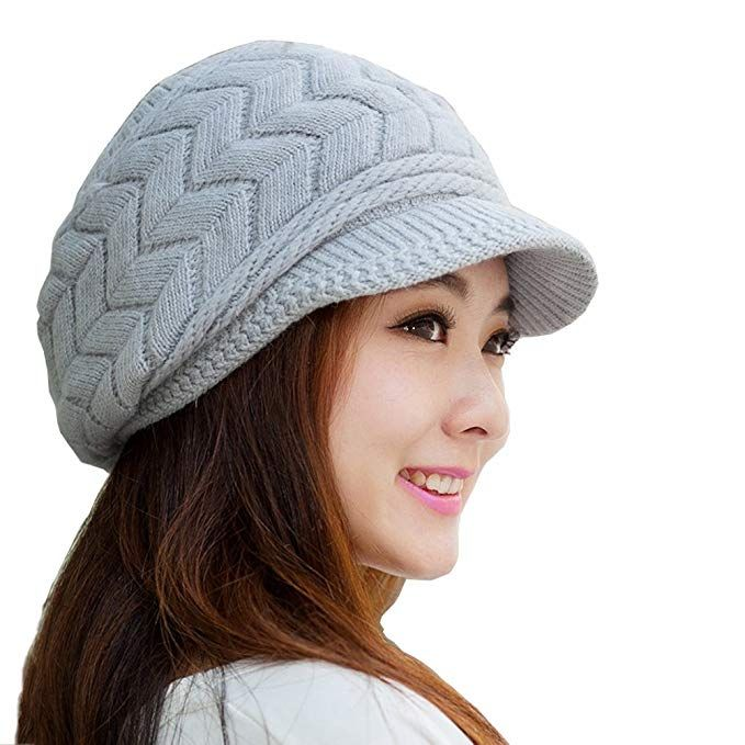 a4d81ae6d $10 HINDAWI Women Winter Warm Knit Hat Wool Snow Caps With Visor, Beige at Amazon  Women's Clothing store: