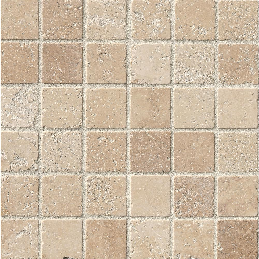 Msi Chiaro 12 In X 12 In X 10mm Textured Travertine Mesh Mounted Mosaic Tile 10 Sq Ft Case Sh Ch2x2t The Home Depot Mosaic Tiles Travertine Mosaic